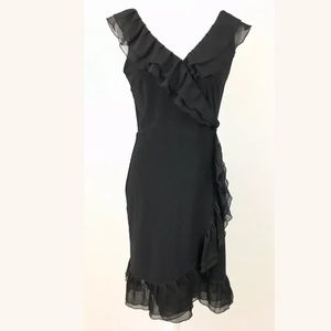 WHBM Sheer Ruffle Faux Wrap Flapper Dress Size 4